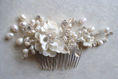 "Wow this might be the one!  ""Pearl headpiece. Bridal hair comb. Rhinestone by ShesAccessories, $118.80""-via las pinner"