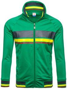 Zielona bluza męska bez kaptura z nadrukiem Denley 3202