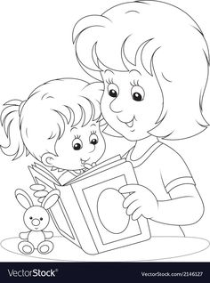 Mother and daughter reading vector image on VectorStock Coloring Pages Winter, Sports Coloring Pages, Cute Coloring Pages, Coloring Books, School Frame, Clipart Black And White, Kids Learning Activities, Mom Day, Krishna Art
