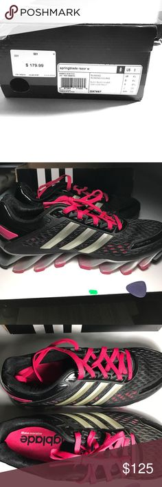Spring blade razor Adidas shoes Running Adidas women's shoes in size 6 has rarely been used. Comes with magenta colored laces to match its spring blades. There are no visible markings, scuff marks or wear as you can see in the photos. Adidas Shoes Athletic Shoes