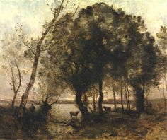 Perfect Effect Canvas ,the Cheap But High Quality Art Decorative Art Decorative Prints On Canvas Of Oil Painting 'Jean-Baptiste-Camille Corot - The Lake, Inch / Cm Is Best For Hallway Gallery Art And Home Decor And Gifts Landscape Art, Landscape Paintings, Barbizon School, Art Through The Ages, Jean Baptiste, Oil Painting Reproductions, Realism Art, Tree Art, Beautiful Paintings