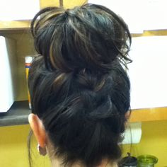 Top knot back view with braid