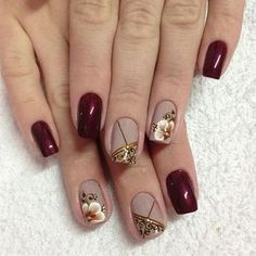 14 Amazing Nail Art Designs Inspired From Red And Black Glamour Nails, Nagel Gel, Flower Nails, Creative Nails, Stylish Nails, Manicure And Pedicure, Winter Nails, Christmas Nails, Toe Nails