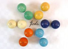 Vintage Fiesta Ware Salt / Pepper Shaker Sets in 1st Six Orig. Colors