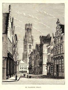 Antique print Bruges Belfort 1887 Vlaamsestraat Brugge houtgravure gravure