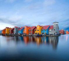 """Rainbow houses"", Reitdiephaven, Groningen, The Netherlands."