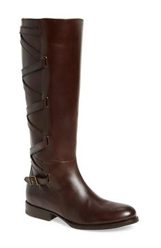 Free shipping and returns on Frye Jordan Strappy Knee High Boot (Women) at Nordstrom.com. Crisscrossing leather straps ladder up the back of an equestrian-inspired boot detailed with an unadorned almond toe and a low heel.