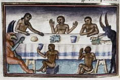 dinner in hell Livre de la Vigne nostre Seigneur, France ca. 1450-1470Bodleian Library, MS. Douce 134, fol. 85v