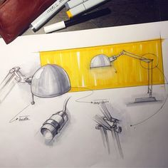 Forså work lamp by ikea ✏️ #idsketching #id #industrialdesign #productdesign #design #inspiration #creative #sketchaday #sketch #sketching #designsketching #drawing #ideation #sketchbook #doodle #ikea #lamp #copic #marker