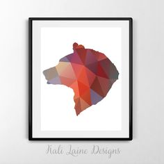 Bear Silhouette Red Grey (8x10) - DIGITAL DOWNLOAD Print, Home Decor/ Bear Decor/ Nature Print, Green Bear Head Silhouette/ Instant Download