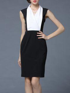 #AdoreWe StyleWe Midi Dresses - She's Black Sheath Sleeveless Surplice Neck Midi Dress - AdoreWe.com