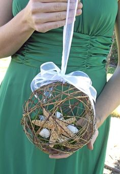 Beach Wedding Starfish Pomander Kissing Ball/ by AprilHilerDesigns, $25.00