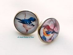 Pendientes botón  pájaros de La tienda Vintage de Kima por DaWanda.com