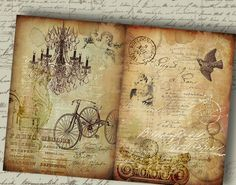 Old Storyboard No2 - Two Large Printable Backgrounds. Digital Download Sheets