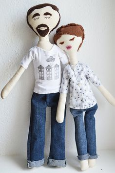 Custom Handmade rag doll / Hister Couple / ecofriendly cotton / 15,6 inches tall $145 (pair) MillieandUbu France She is 15,6 inches tall to 3,9 inches large and he is 18 inches tall. All handmade in ecofriendly cotton and hypoallergenic filling.  You can wash the dolls and their clothes on the machine (choose a soft program).