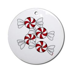 Peppermint Candy Ornament Round Christmas Round Ornament by CafePress. Adorable red and white peppermint candy design is available on a wide assortment of apparel and gift items. Christmas Round Ornament Instantly accessorize bare wall-space with our Round Ornament. Makes great room or office accessories, fun favors for birthday parties, wedding or baby shower Ornaments, or adding a unique, special touch to gift-wrapped packages. Comes with its own festiv. Price: $12.50