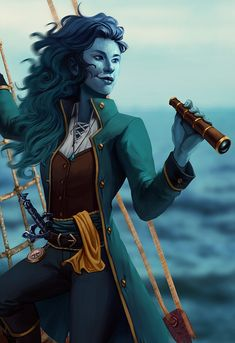 Emery, the Water Genasi Sea Captain. Fantasy Character Design, Character Creation, Character Design Inspiration, Character Concept, Character Art, Concept Art, Dungeons And Dragons Characters, D D Characters, Fantasy Characters