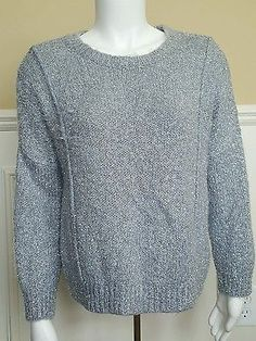 Jennifer Lopez Sweater Medium Gray Silver Metallic Eyelash Lurex Long Sleeve New