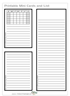 Various free printable charts and lists at this link.  To download the printable shown click on Mini Cards and List.