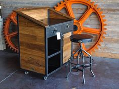 Teak hostess stand, Wright chair and gear by Vintage Industrial Furniture.