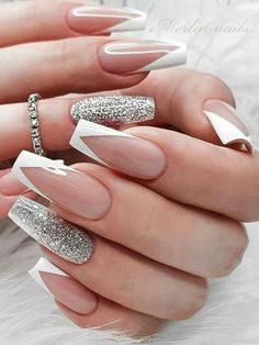 White Tip Acrylic Nails, Acrylic Nails Coffin Short, Coffin Shape Nails, Silver Tip Nails, White Coffin Nails, Acrylic Tips, French Tip Nail Designs, French Tip Nails, Acrylic Nail Designs
