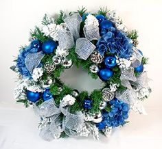 Royal Blue Silk Artfiicial Christmas Front Door Wreath - 18 Inch, 24 Inch, and 30 Inch Sizes - (18 Inch) The Wreath Depot http://www.amazon.com/dp/B017ESWEJK/ref=cm_sw_r_pi_dp_JU8uwb04NCEQQ