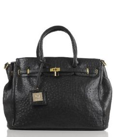 Noble Mount London Office Tote Ostrich Finish - Black: Sale:	$49.99  [ http://fashion.katalique.com/noble-mount-london-office-tote-ostrich-finish-black/ ] #BlackHandbagsForGlamorousLadies