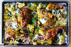 Regram from smittenkitchen This chicken tikka is my ode to sheet pan dinners this one on a bed of cauliflower and potatoes served right in the pan Wildly flavorful full of textures and colors this is the kind of dinner that immediately on repeat Sheet Pan Chicken Tika on smittenkitchencom