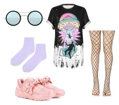 """""""Untitled #234"""" by ninaellie on Polyvore featuring WithChic, Leg Avenue, Puma, Kyme and Topshop"""