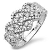 0.33 Carat (ctw) Sterling Silver Round Diamond Ladies Cocktail Right Hand Ring Wedding Band 1/3 CT -