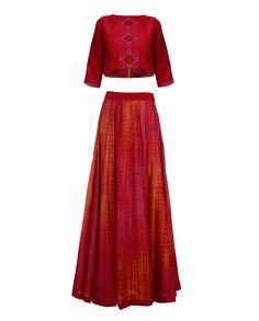 Red Crop Top with Shibori Skirt