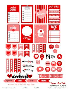 Free Printable Roses are Red Planner Stickers | Vintage Glam Studio