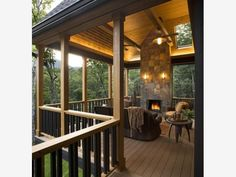 Covered deck with Fireplace - Home and Garden Design Idea's