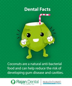 Dental Facts Coconuts are a natural anti-bacterial food and can help reduce the risk of developing gum disease and cavities..a #DentalFacts #gumdisease #cavities #rajandental #facts