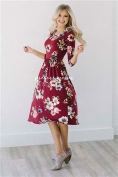 66435bbbc0a23 This incredibly soft burgundy dress features a fall watercolor floral print,  elastic waist, ...