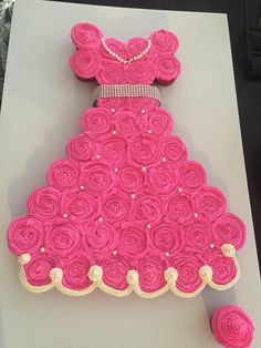 Princess Cake my wife made from cupcake for our daughter's 4th birthday party. - Imgur