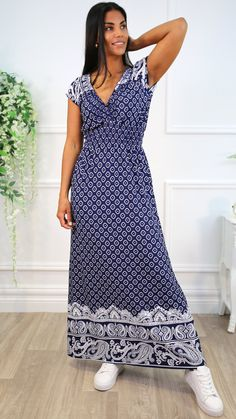 Navy maxy dress, maxi dress, navy dress, long dress, summer dress, long summer dress, outfit inspo Long Summer Dresses, Dress Summer, Dress Long, Navy Dress, No Frills, Wrap Dress, Boutique, Outfits, Style