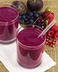Purple Power Smoothie Recipe | Fitness Magazine 1/2 cup water, 1/2 cup frozen sweet cherries, 1/2 cup frozen raspberries, 1/2 cup frozen blueberries, 1/4 cup pomegranate seeds, 1 scoop vanilla protein powder, 5 cashews. Blitz in order listed! 1 serving
