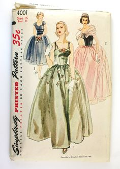 Simplicity 4001 Vintage 1950s Strapless Evening Gown