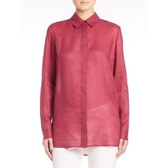 Lafayette 148 New York Gemma Cloth Tierney Blouse (€325) ❤ liked on Polyvore featuring tops, blouses, apparel & accessories, sangria, pleated blouse, button front tops, button front blouse, red long sleeve top and lafayette 148 new york