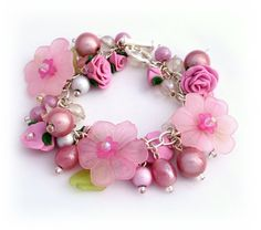 Pink Charm Bracelet  Polymer Clay Bracelet  Rose by Lottieoflondon, £25.00