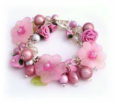 Pink Charm Bracelet  Polymer Clay Bracelet  Rose by Lottieoflondon, £25.00