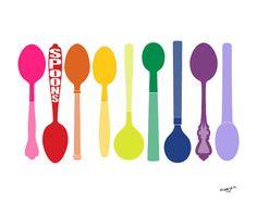 Art for kitchen print  Spoons  illustration 8x10 wall by PragyaK, $20.00