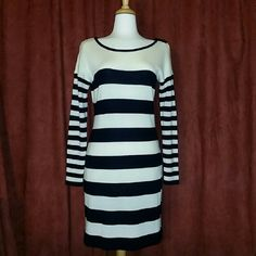 Striped Bodycon Sweater Dress + great condition + lightly used + offers welcome via designated button LOFT Dresses Mini