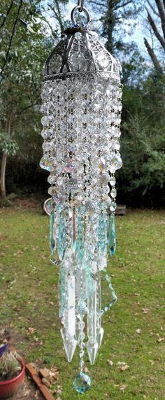 Antique Crystal Jeweled Wind Chime, Aqua Crystal Wind Chime, Iridescent Wind Chime, Outdoor Decoration, Window Decoration by sheriscrystals on Etsy