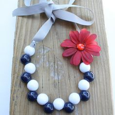 DIY Necklace - Navy and White Beaded Necklace