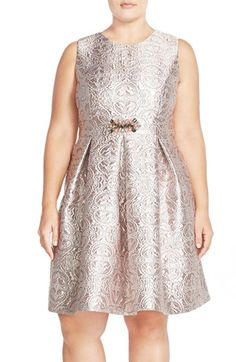 Eliza J Embellished Metallic Jacquard Fit & Flare Dress (Plus Size) available at #Nordstrom