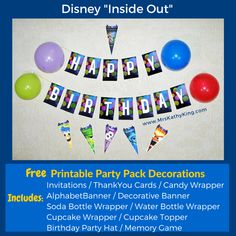 Free Inside Out  Party Pack Decorations  Printable (1)