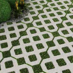 Maski Pisos e Revestimentos Especiais Brick Garden, Garden Paving, Garden Stones, Garden Paths, Landscape Concept, Garden Landscape Design, Diy Driveway, Paver Designs, Paving Design