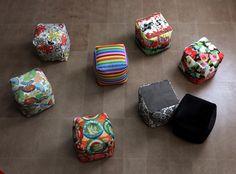 Pouf arredo di vari colori e tante fantasie, adatti a personalizzare gli ambienti della tua casa!
